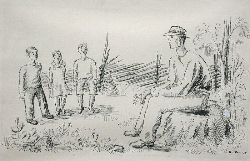 Mann og tre barn 1934