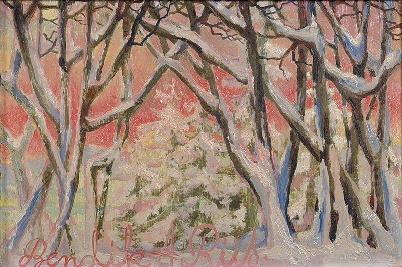 Trær i vinterlandskap