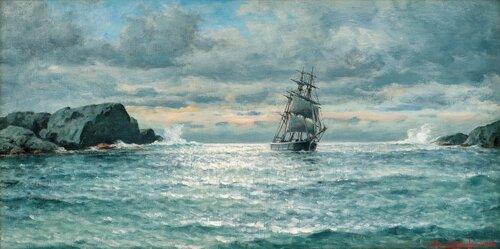 Sailing Ship by Rocky Coast 1927