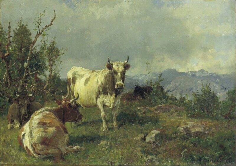 Fire kyr i landskap 1885