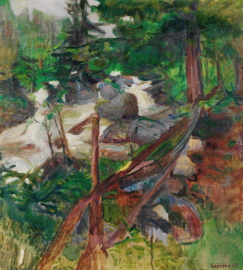 Skogslandskap med foss 1902