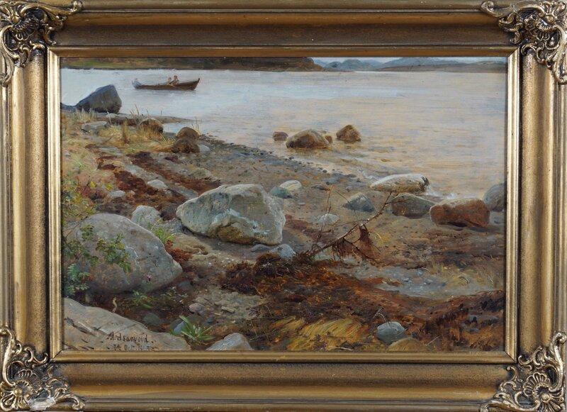Strandparti med kampesteiner, Askevold 1869