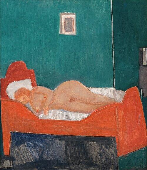 Liggende akt på seng 1958