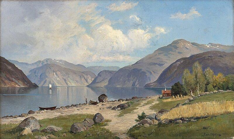 Fjordlandskap med folkeliv 1880