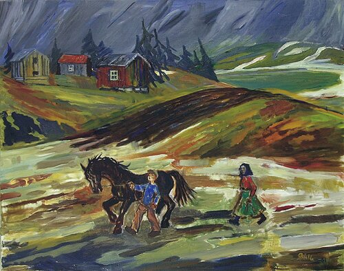 Småbruk med kone, mann og hest 1961