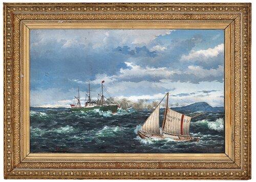 Losbåten Hvidingsø No 5 loser en dampbåt 1881