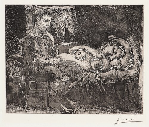 Boy and Sleeping Woman by a Candle Light / Garcon et Dormeuse à la Chandelle