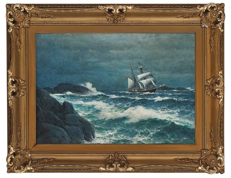 Kystlandskap med seilskute 1922