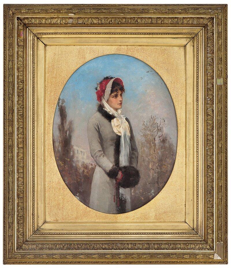 Kvinne med muffe 1882