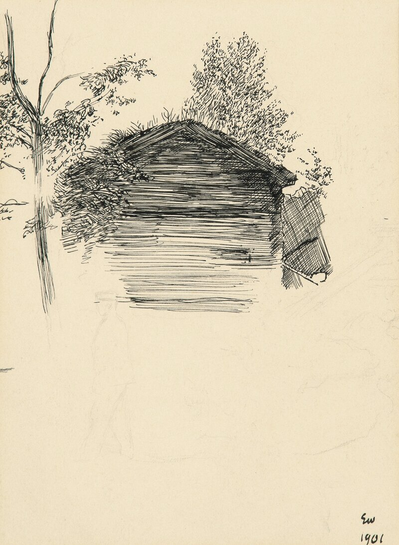 Man in front of a Timberhut 1901