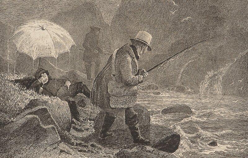 Kunstnerne fisker i regnvær