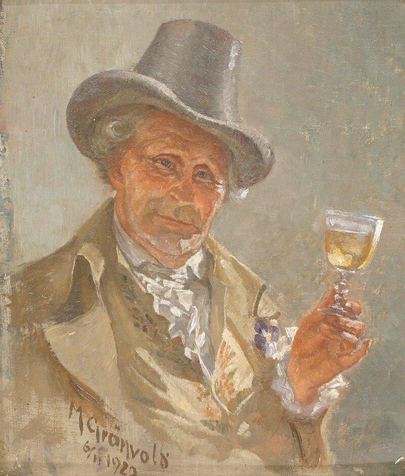 Mann med hatt og vinglass 1920