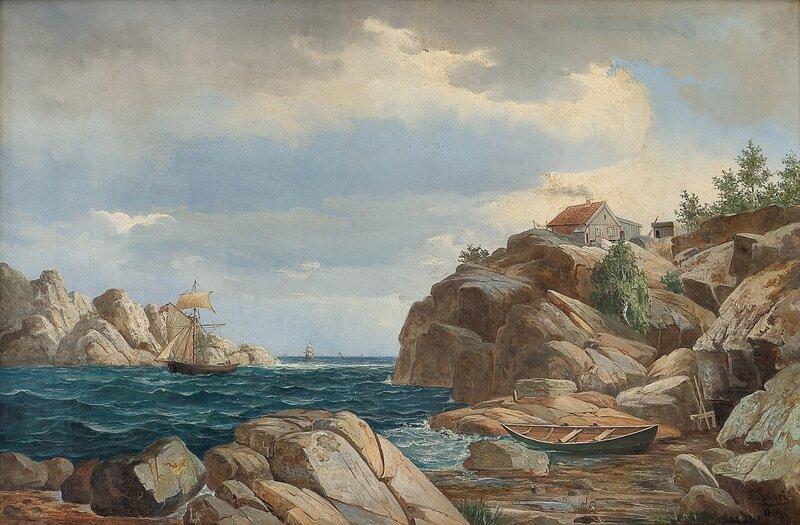 Kystlandskap med seilbåter 1869