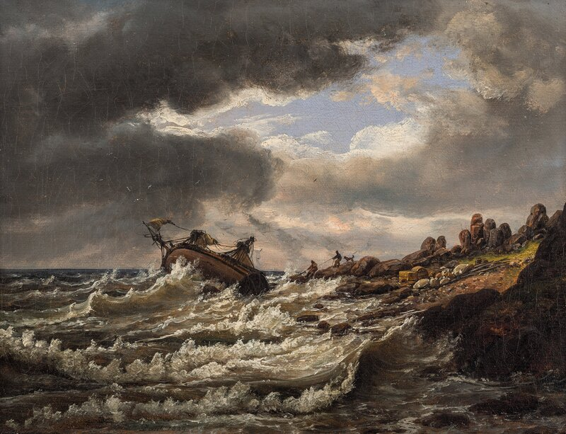 Skipsvrak ved kysten av Kullen 1829