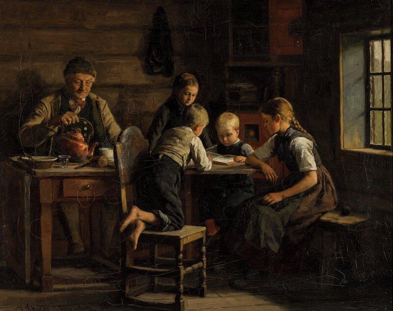 Reading, in a farmhouse 1880