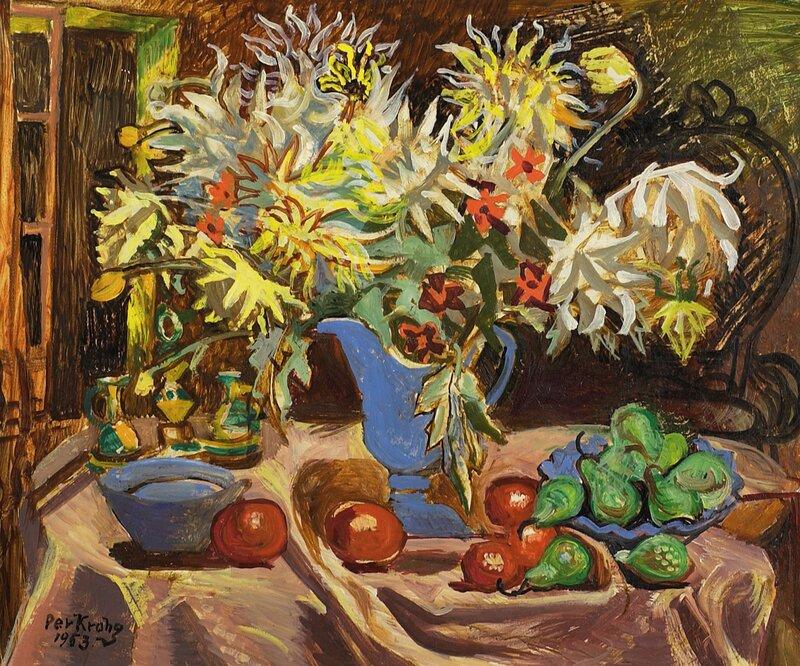 Oppstilling med blomster og frukt 1953