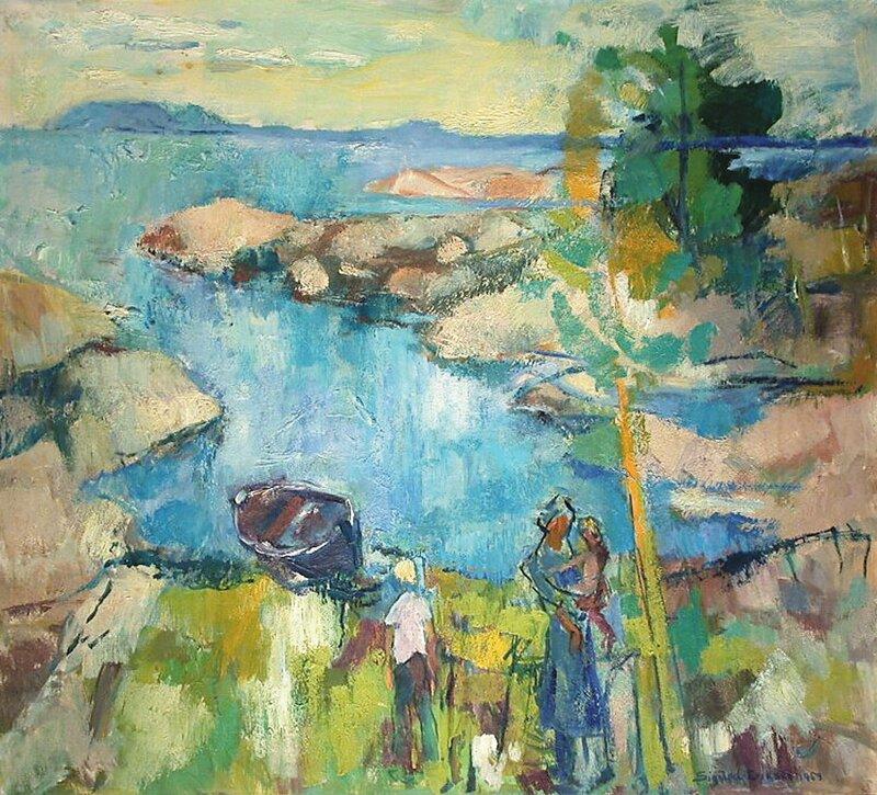 Kystlandskap med kvinne og barn ved båt 1959
