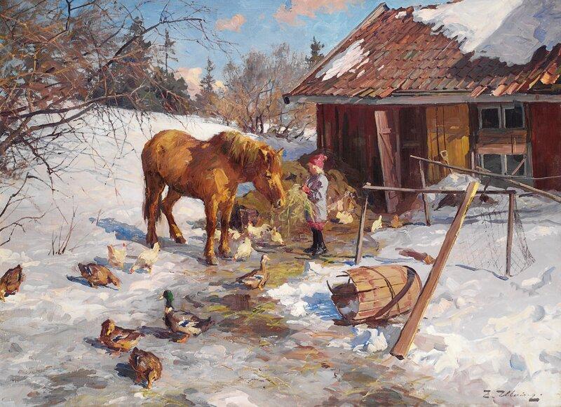 Gårdstun med jente og hest
