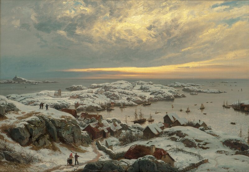 Winter in a Harbour, by Farsund