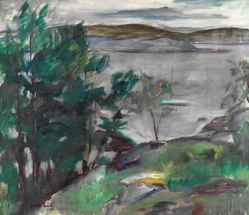 Kystlandskap med seilbåt i bøye 1920