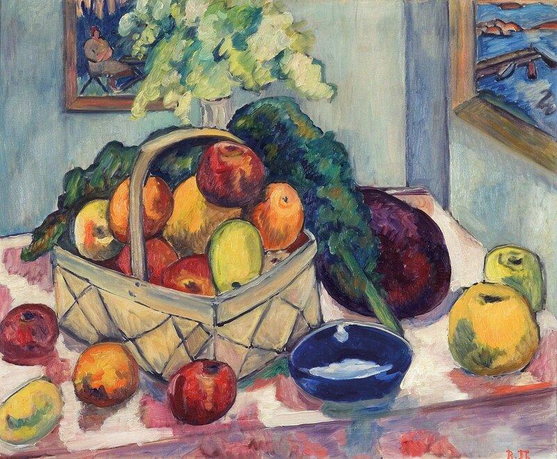 Oppstilling med fruktkurv