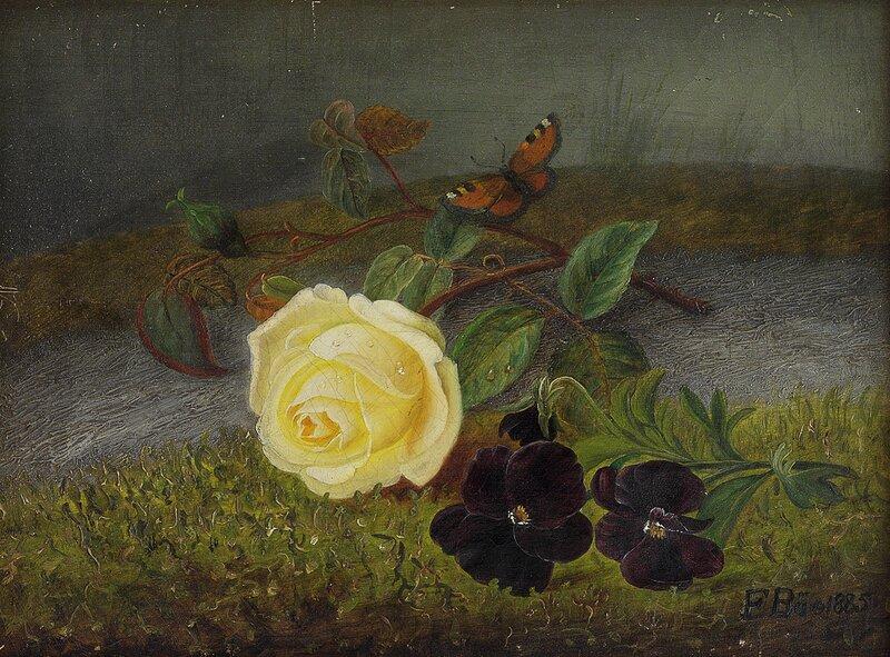 Oppstilling med rose og fioler 1885