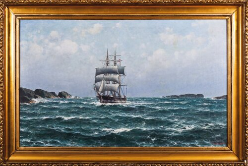 Ship by Cliff Coast 1917