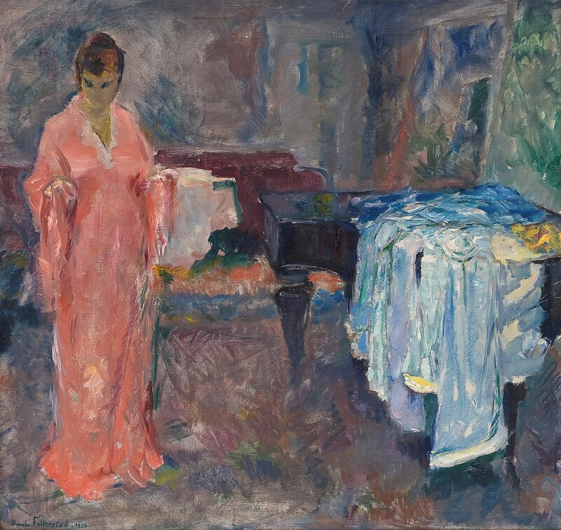 Kvinne i interiør 1918
