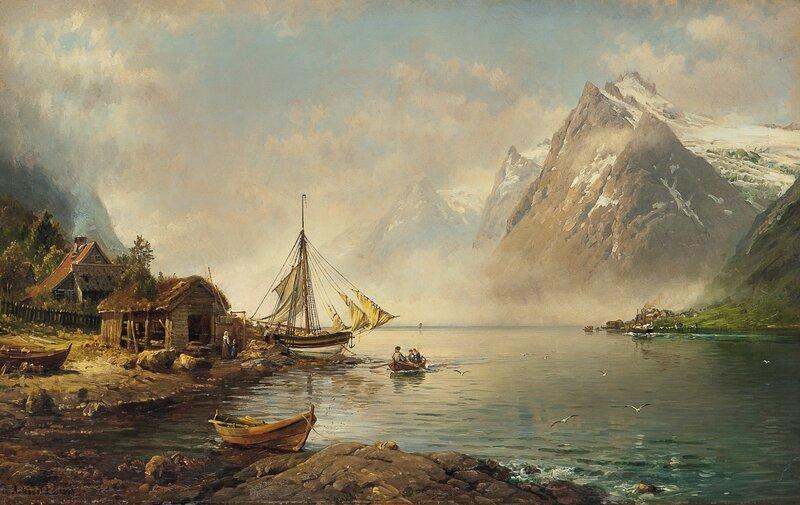 Fjordlandskap med folkeliv 1893
