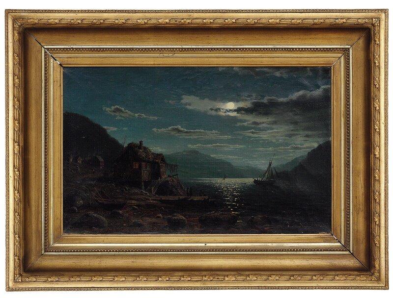 Kystlandskap med folkeliv, måneskinn 1867