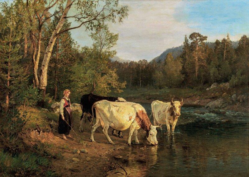 Budeie og kyr ved vanningsstedet 1870