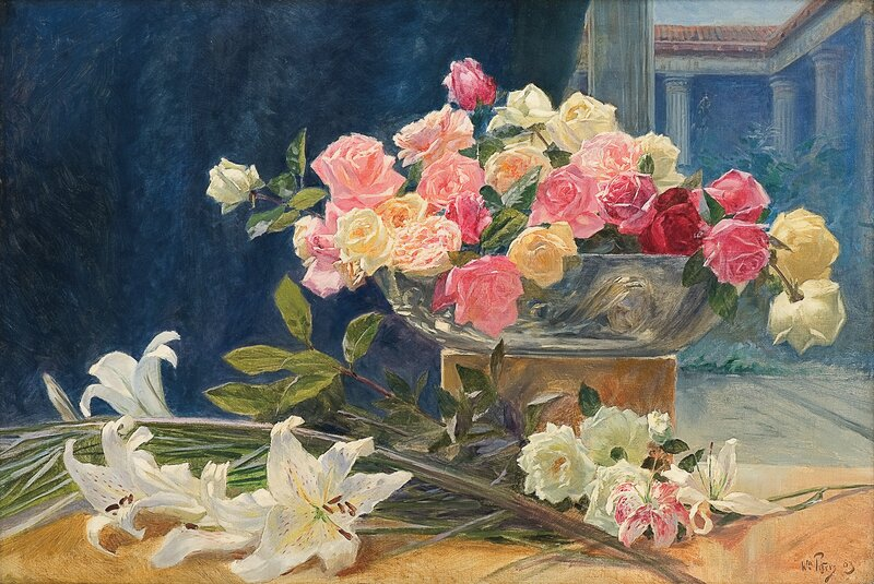 Oppstilling med liljer og roser 1903
