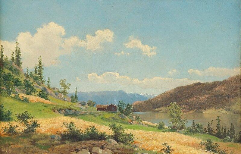 Fjordlandskap med gårdsbruk 1868