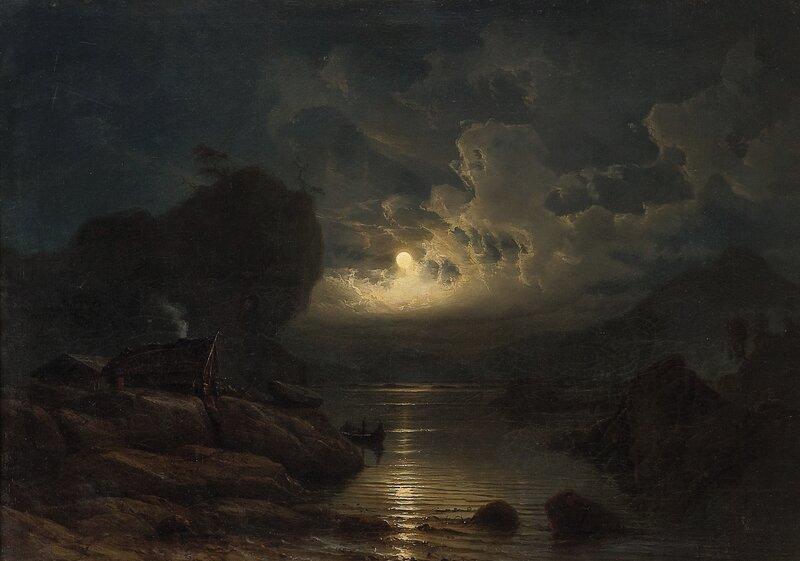 Kystlandskap med folkeliv i måneskinn 1852