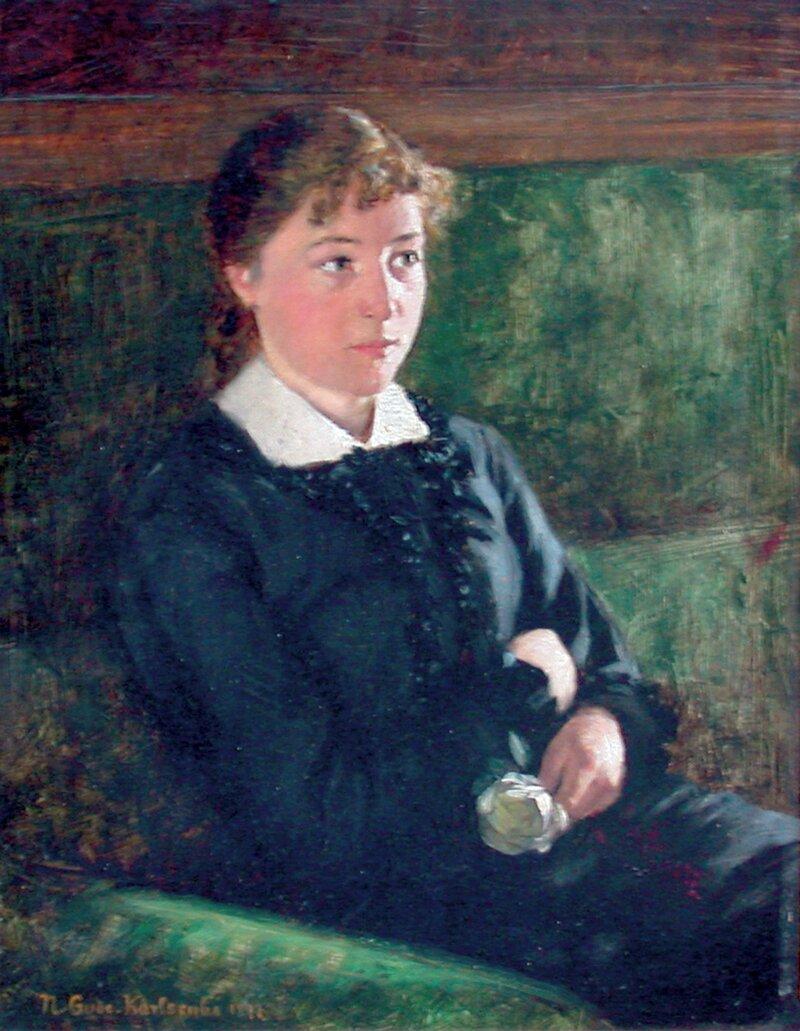 Sittende kvinne med rose 1877