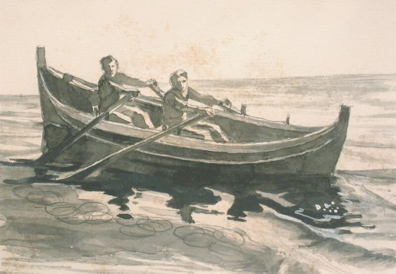 Kvinne og mann som ror en Nordlandsskjekte