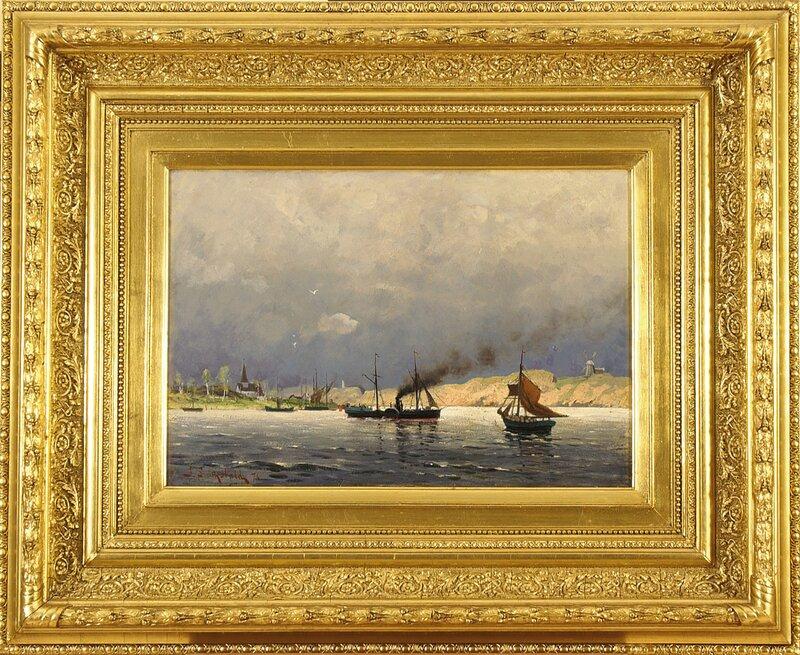Hjulbåt og seilbåter i havn 1876