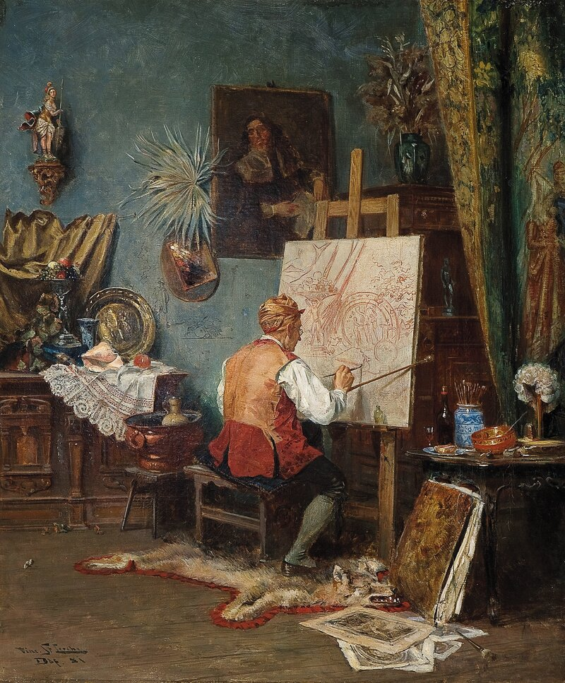 Maler ved sitt staffeli 1881