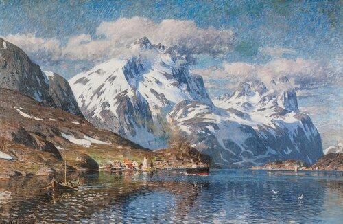 Fiskevær i Lofoten med folkeliv og dampbåt