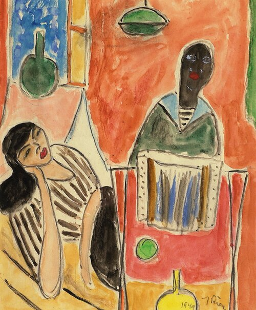 Interiør med kvinne og sjømann 1949