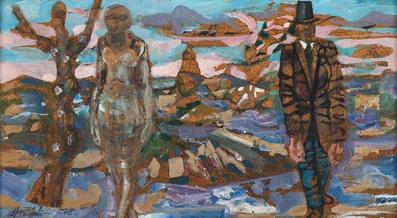 Kvinne og mann i landskap 1974 og 1978
