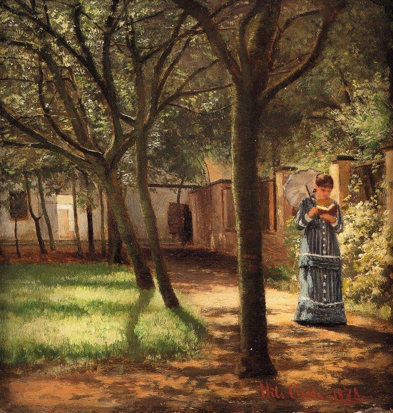 Haveinteriør med spaserende, lesende kvinne 1878