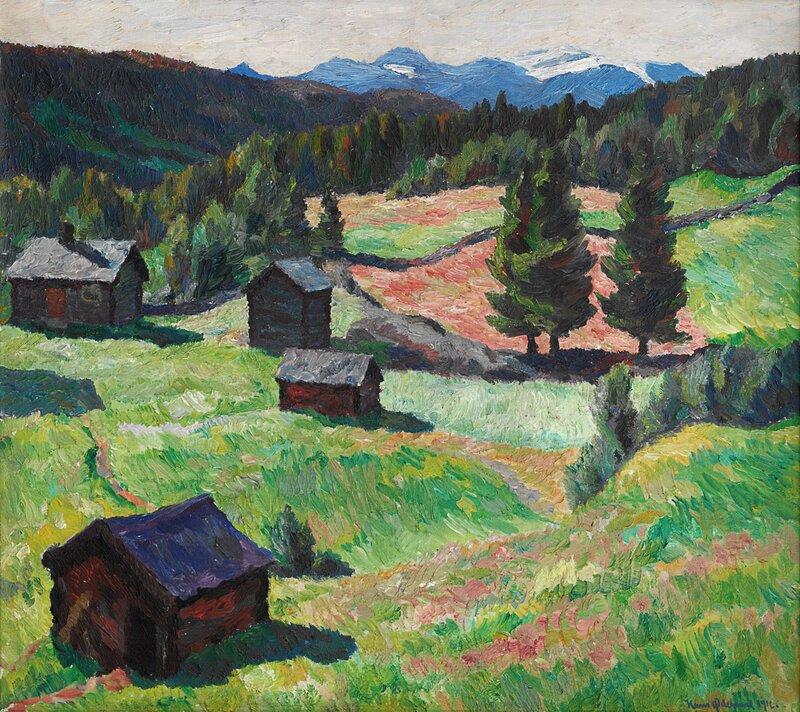 Landskap med småbruk 1916