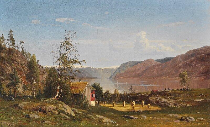 Fjordlandskap med høystakker 1870