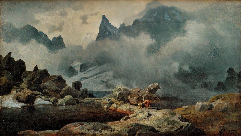 Mann med kløvhest i fjellandskap 1847