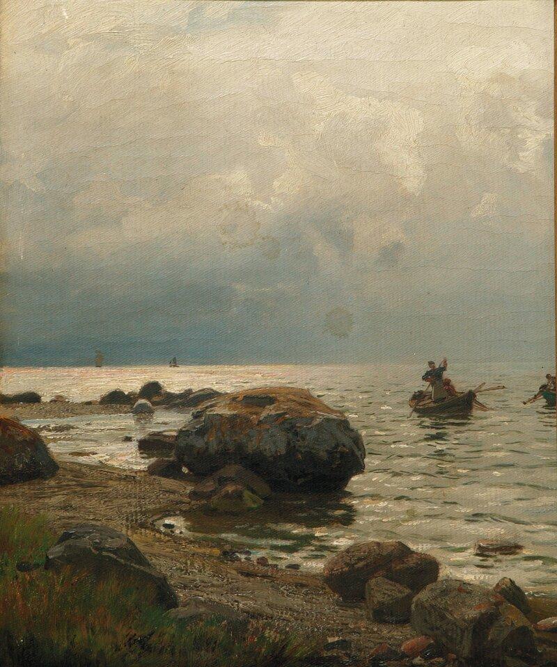 Fiskere ved stenet kyst 1866
