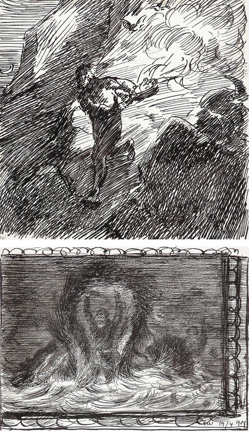 Løpende gutt og draug 1907