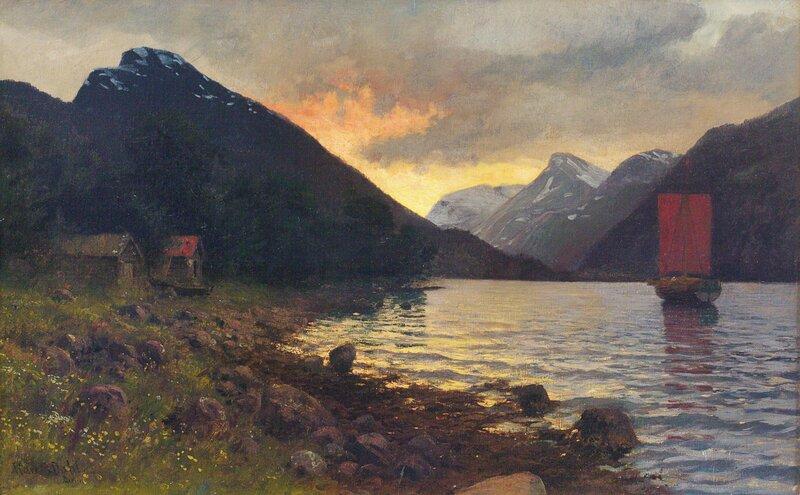Fjordlandskap, aften