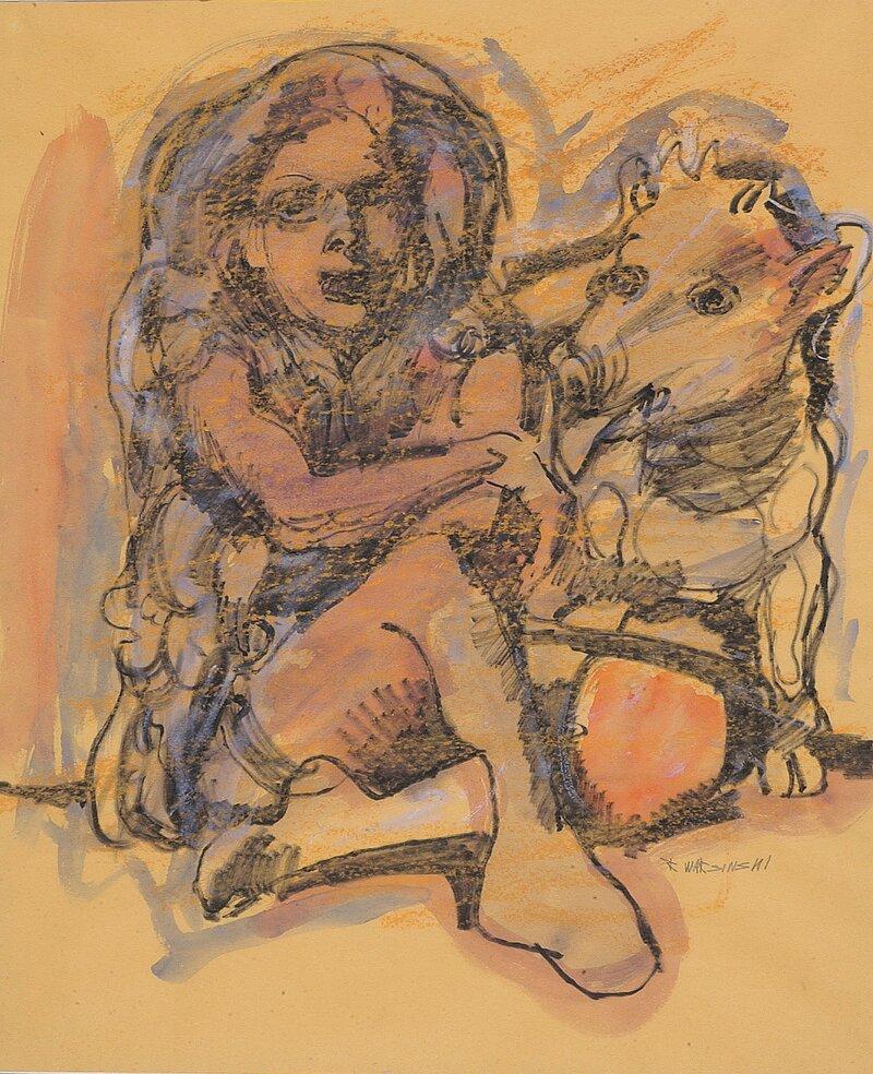 Kvinne og fabeldyr