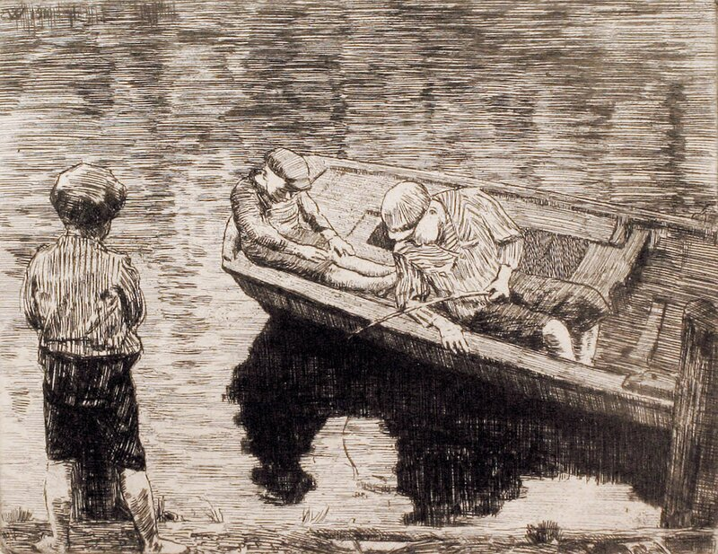 Fiskende gutter 1910